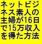 ネットビジネス素人の主婦が16日で15万円の収入を得た方法全部公開します!!