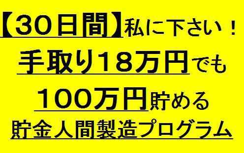 【30日間】貯金人間製造プログラム〜手取り18万円からのムリなく100万円貯める超貯金節約術〜