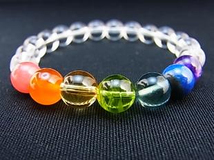 虹の7色による厄除けブレスレット(片虹全8ミリ) 100050