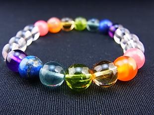 虹の7色による厄除けブレスレット(両虹全8ミリ) 100050