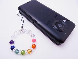 女性用厄除け携帯ストラップ全6mm玉キラキラデザイン